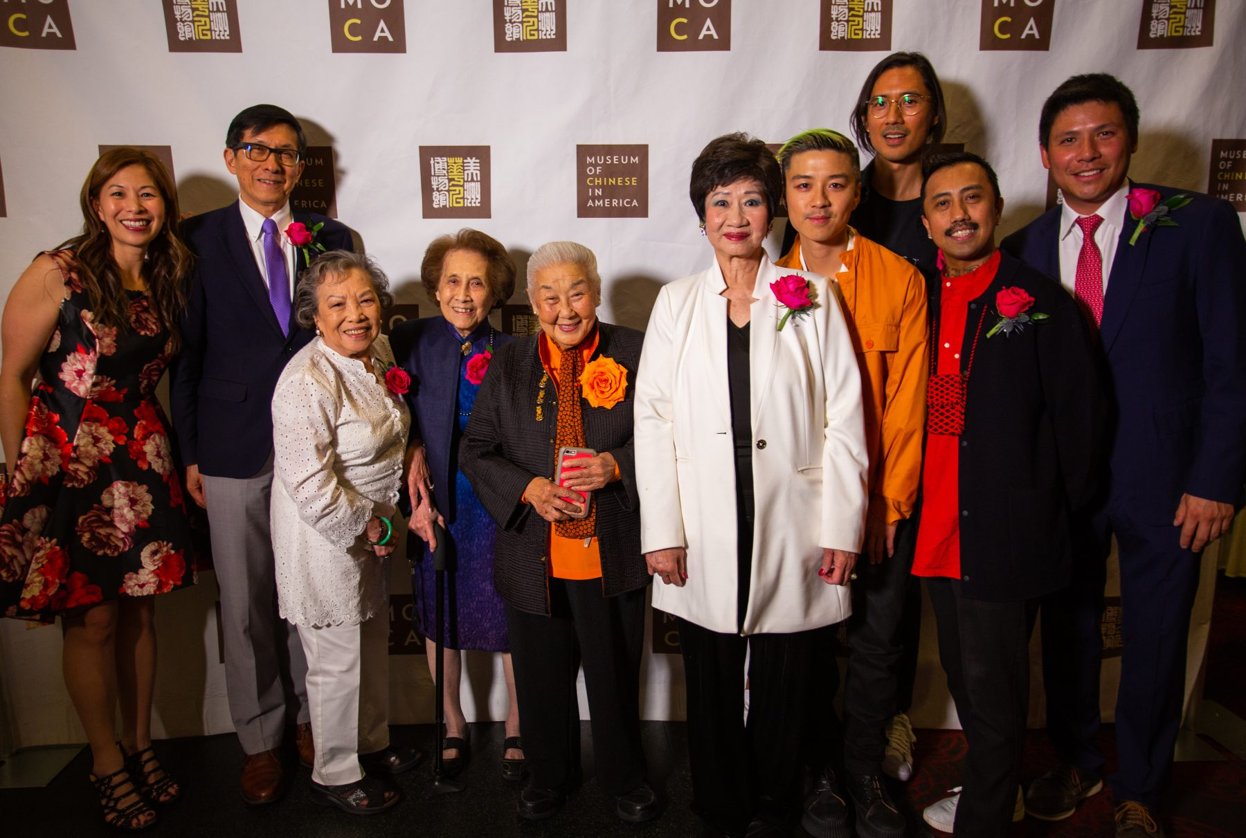 (L-R) Nancy Yao Maasbach, MOCA President; Wellington Chen, executive director of Chinatown Partnership; Marcella Chin Dear, Catherine Lee Young and Norma Chu of Ging Hawk Club; Margaret Lam, philanthropist; Stevie Huynh, Nicholas Anderson and Pedro Vidallon of Bubble_T; Jonathan Chu, MOCA Board co-chair