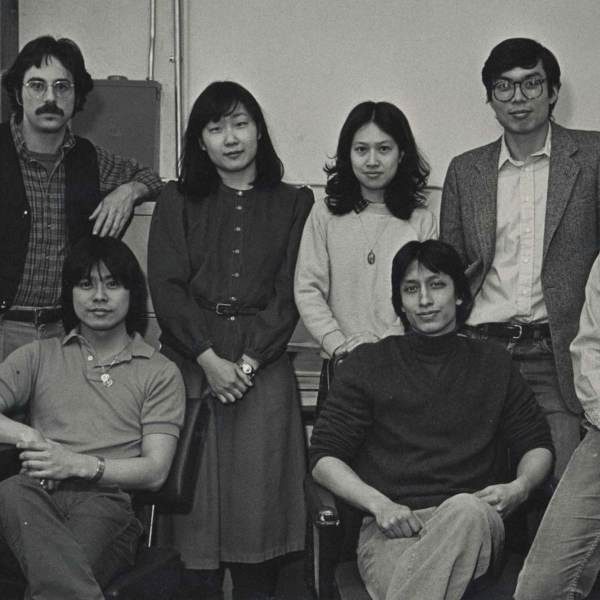 Earliest staff group photo, Paul Calhoun, Charles Lai黎重旺, n.n., Yuet-fung Ho何月凤, James Dao陶启华, John Kuo Wei Tchen陈国维, Robert Glick, 1980-1984