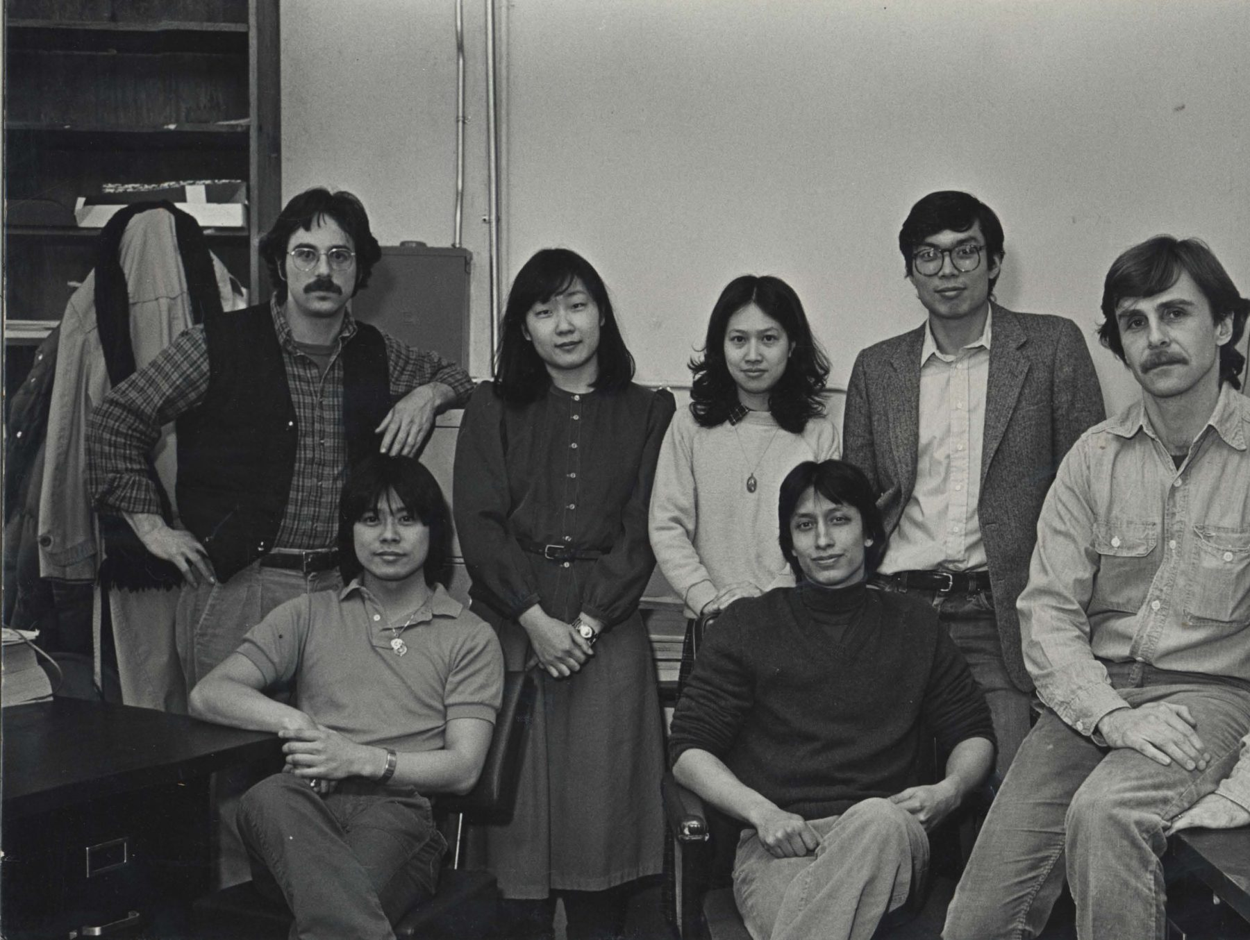 Earliest staff group photo, Pail Calhoun, Charles Lai黎重旺, Couldn't recognize, Yuet-fung Ho何月凤, James Dao陶启华, John Kuo Wei Tchen陈国维, Robert Glick, 1980-1984