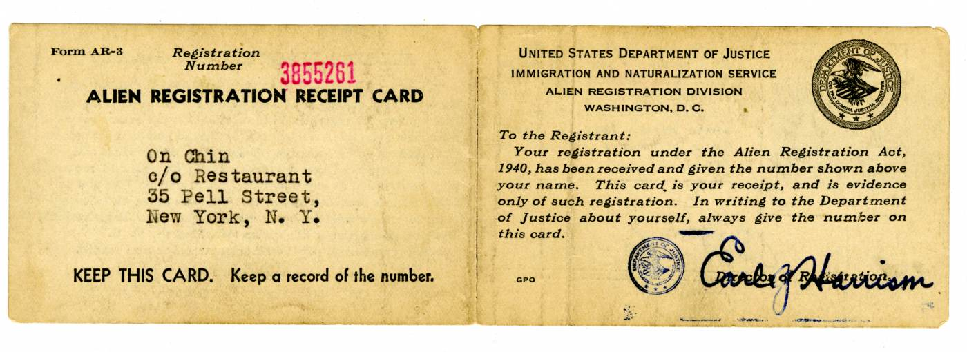 18 September 2019 Posted. On Chin's Alien Registration Receipt Card, courtesy of Lung Chin, Museum of Chinese in America (MOCA) Collection. On Chin的外国人登记卡,Lung Chin捐赠,美国华人博物馆(MOCA)馆藏