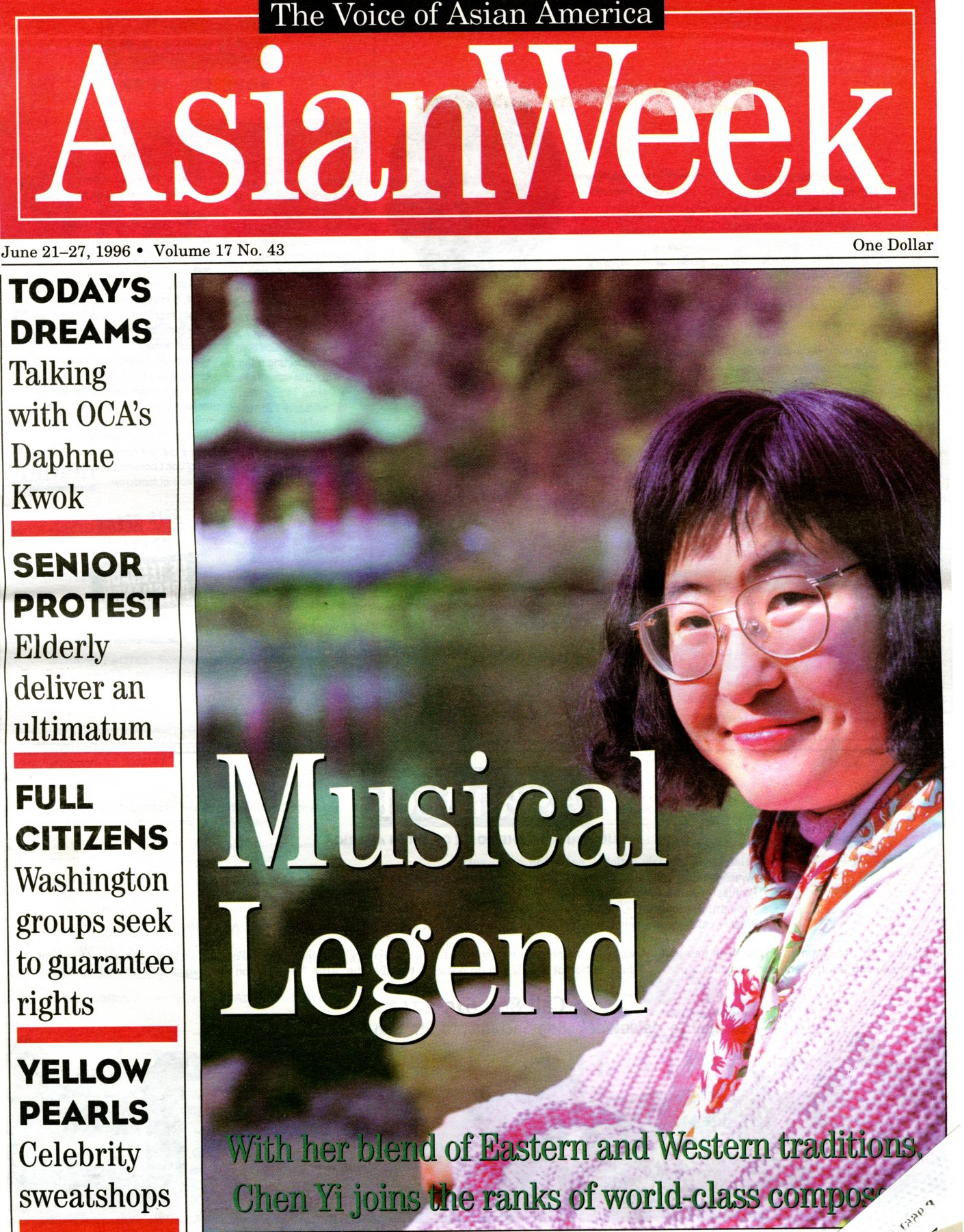 29 May 2019 Posted. Chen Yi on AsianWeek Cover, 1996, Museum of Chinese in America (MOCA) Collection. 陈怡登上1996年AsianWeek杂志封面,美国华人博物馆(MOCA)馆藏