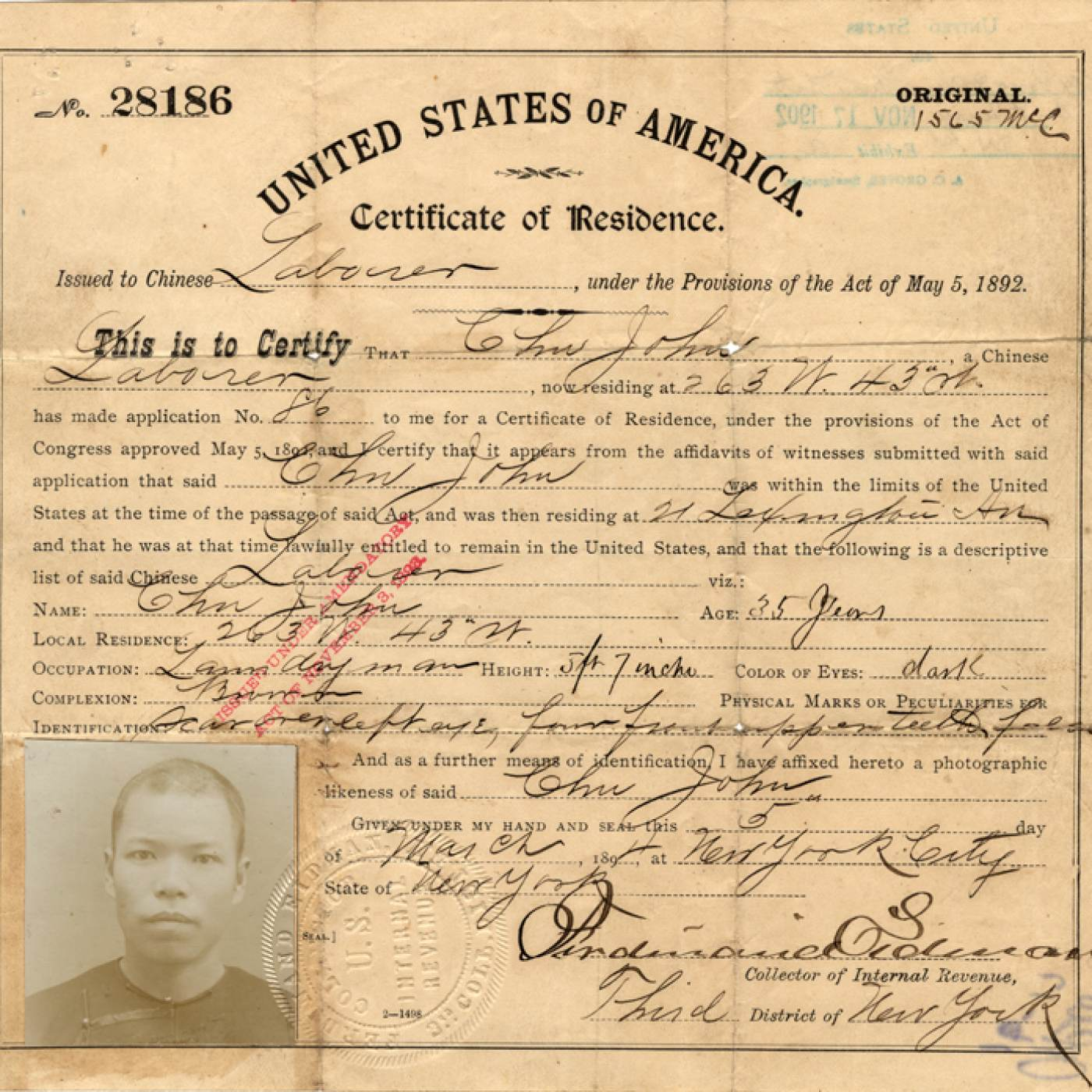 09 April 2019 Posted. John Chu's Certificate of Residence. Courtesy of Douglas J. Chu, Museum of Chinese in America (MOCA) Collection. John Chu的居住证。Douglas J. Chu捐赠,美国华人博物馆(MOCA)馆藏