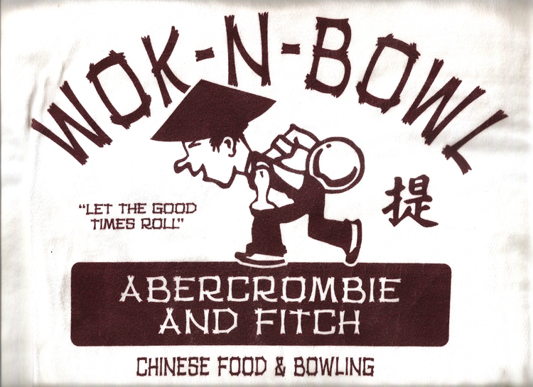 "15 April 2019 Posted. Abercrombie and Fitch ""Wok-N-Bowling"" T-shirt. Courtesy of I-Ching and Mark Scott, Museum of Chinese in America (MOCA) Collection. A&F ""炒锅和保龄球"" T恤。I-Ching和Mark Scott捐赠,美国华人博物馆(MOCA)馆藏"