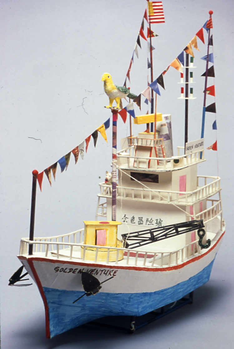 "06 June 2019 Posted. Replica of the Golden Venture ship created by detained Fujianese Refugees, Museum of Chinese in America (MOCA) Collection. 被拘留的福建难民制作的""金色冒险号""纸雕模型,美国华人博物馆(MOCA)馆藏"