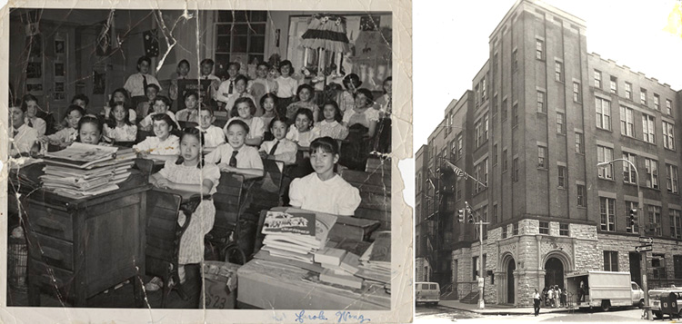 12 June 2019 Posted. Left:Mrs. Carbone's 6th grade class at P.S. 23, Courtesy of Richard Wong, Museum of Chinese in America (MOCA) Collection; Right:P.S. 23 Façade. Photograph taken by Emile Bocian. Museum of Chinese in America (MOCA) Collection. 左图:Carbone老师的第23公立小学6年级课堂,Richard Wong捐赠,美国华人博物馆(MOCA)馆藏; 右图:第23公立小学正面,包信拍摄,美国华人博物馆(MOCA)馆藏