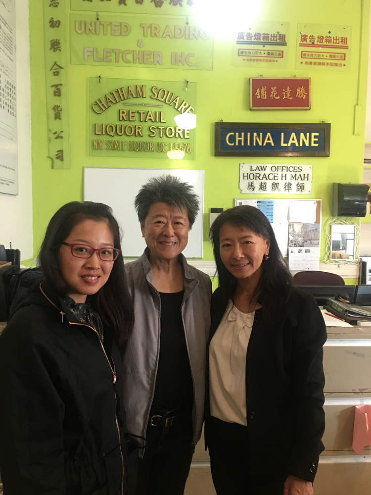 26 June 2019 Posted. Helen Zia (in the middle) visited MOCA Collections & Research Center, with Yue Ma (on the right), the Director of Collections & Research, and a student intern (on the left). Museum of Chinese in America (MOCA) Institutional Archives. 谢汉兰(中)访问MOCA馆藏研究中心与中心主任马越(右)和实习生(左)合影,美国华人博物馆(MOCA)机构档案