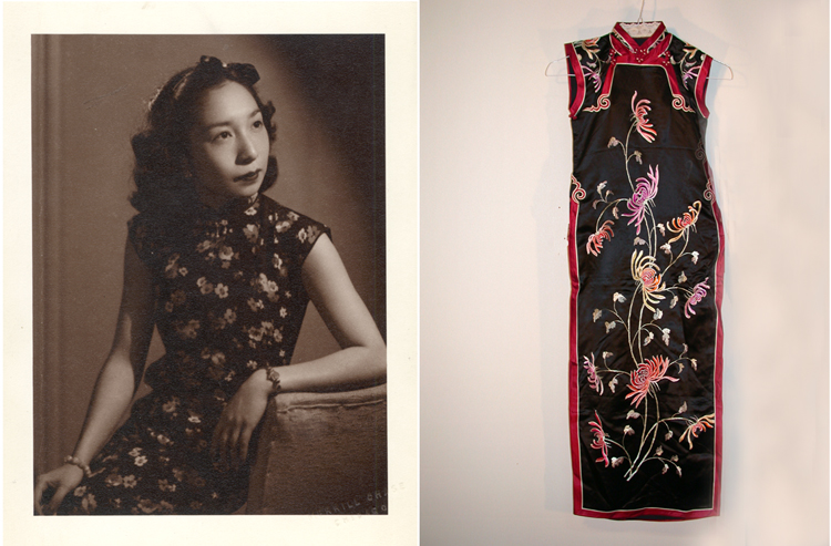 15 August 2019 Posted. Left: A studio portrait of Phoebe Chen in a floral qipao; Right: Black sleeveless satin qi pao with embroidered chrysanthemum design, Courtesy of Pamela Chen, Museum of Chinese in America (MOCA) Collection. 左图:Phoebe Chen身穿花色旗袍的照相馆照片;右图:黑色无袖缎面刺绣菊花图案旗袍,Pamela Chen捐赠,美国华人博物馆(MOCA)馆藏