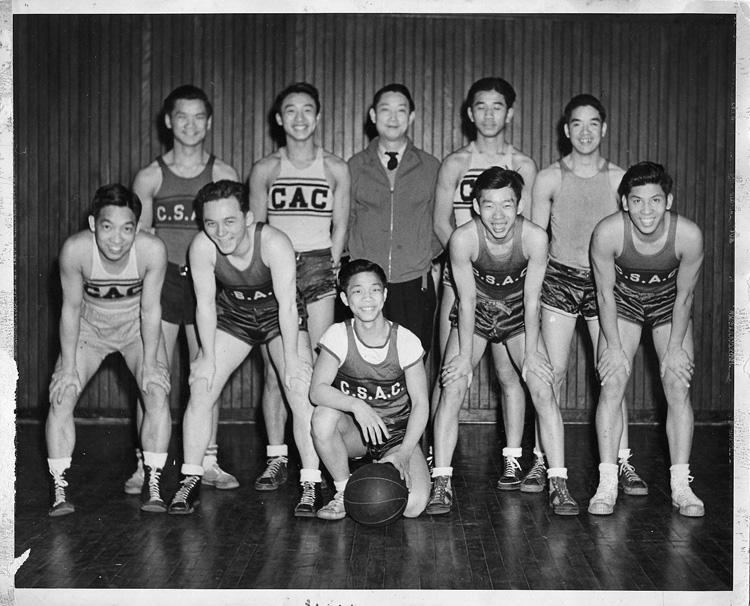 "01 October 2019 Posted.  My First Real Team, Chinatown Sport Teams, L. to R. Top row. Bobby (Red Tie) Lee, CA; Gilbert Chin, FLA; Coach Lung Chin; Shang Wong Wu; Bill Chin. Bottom row. Robert (Smokey) Lee, Southbridge tower NY; James Wong, Seaford LI; Ralph Chin; Edwin ""Peanut"" Chu, Long Island; Daniel Wong, 1943, Museum of Chinese in America (MOCA) Collection. 我的第一个真正的体育队,唐人街体育队,从左至右,上排:来自加州的Bobby (Red Tie) Lee、来自佛罗里达的Gilbert Chin、Lung Chin教练、Shang Wong Wu、Bill Chin,下排: 来自纽约曼哈顿Southbridge tower的Robert (Smokey) Lee、来自长岛Seaford 的James Wong、Ralph Chin;、来自长岛的Edwin ""Peanut"" Chu、以及Daniel Wong,1943年,美国华人博物馆(MOCA)馆藏"
