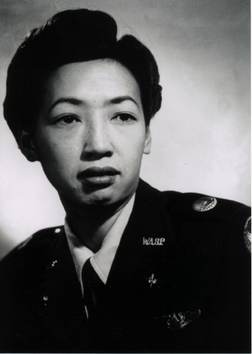 "04 July 2019 Posted. Hazel Ying Lee in her uniform with a WASP (Women's Airforce Service Pilot) pin, ca. 1943; Courtesy of Frances M. Tong, Museum of Chinese in American (MOCA) Hazel Ying Lee & Frances M. Tong Collection. 身着制服并佩戴""女子航空勤务飞行队(WASP)""徽章的李月英,大约1943年;Frances M. Tong捐赠,美国华人博物馆(MOCA)馆藏"