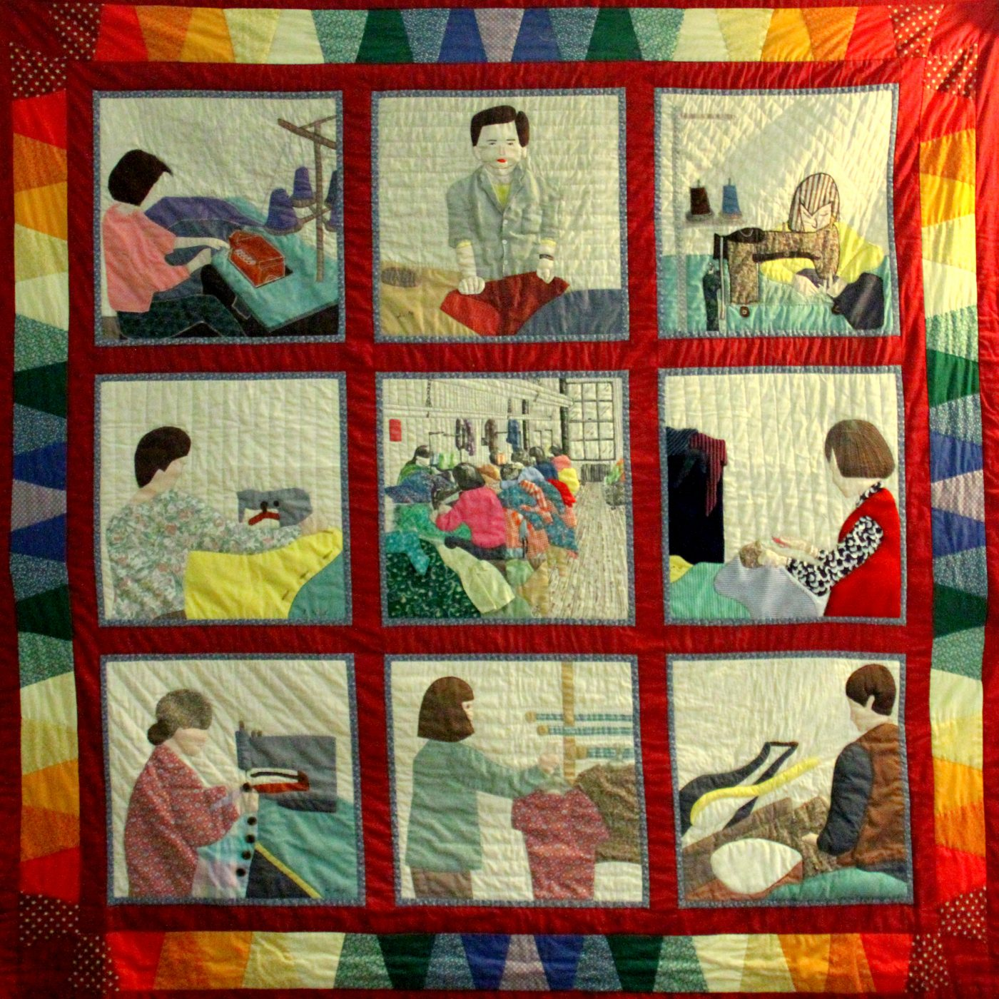 16 August 2019 Posted. Quilt made by garment workers depicting garment work tasks, 1989, Museum of Chinese in America (MOCA) Collection. 由服装工人制作的被子,描绘了服装工作的各项任务分工,1989年,美国华人博物馆(MOCA)馆藏
