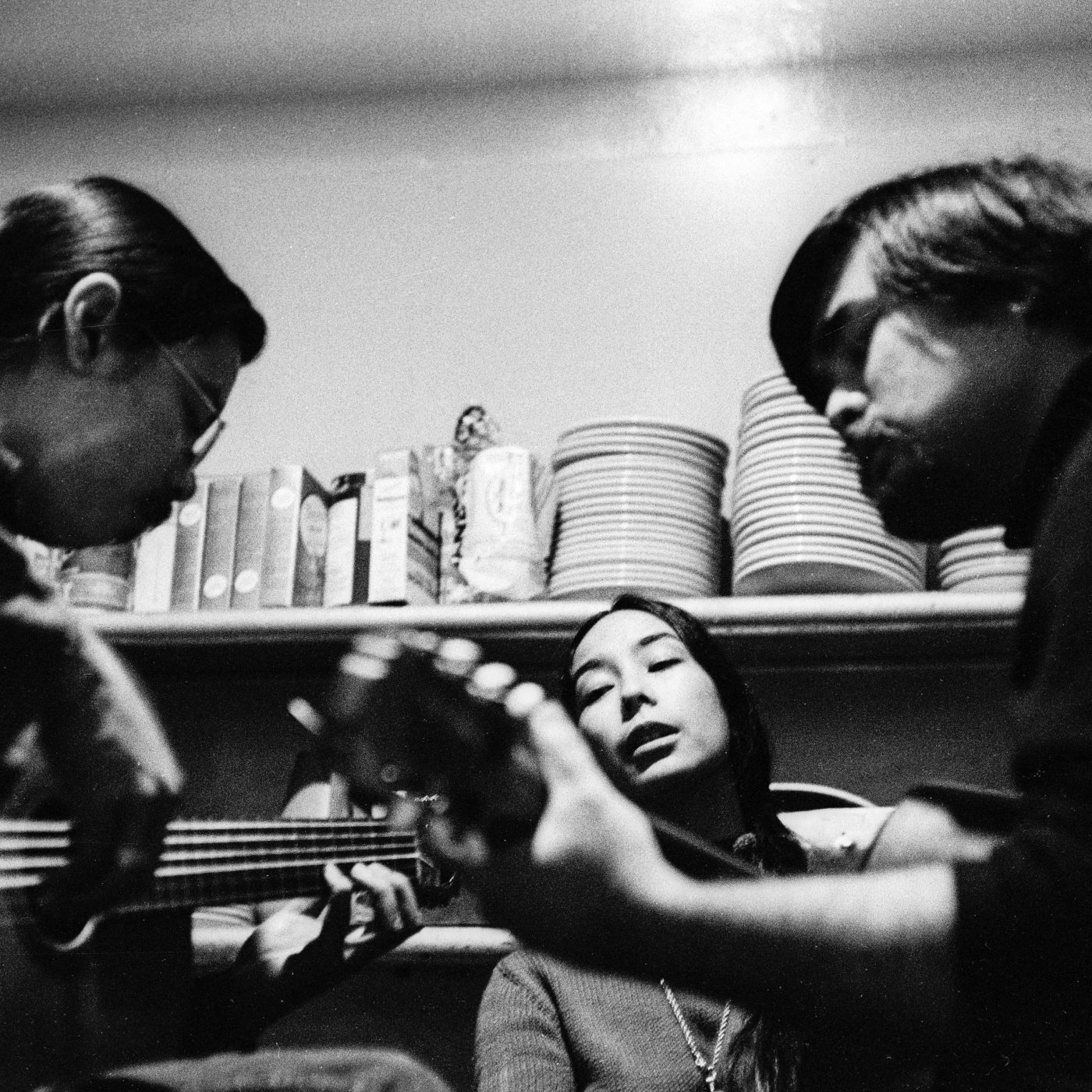 Bob Hsiang, A Grain of Sand trio rehearsal at Folk City, 1971